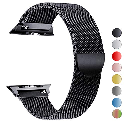 Seoaura Compatible Apple Watch Band 42mm 44mm, Stainless Steel Milanese Loop Replacement Strap with Magnetic Closure iWatch Series 4 3 2 1 Sports (Black, 42mm/44mm)