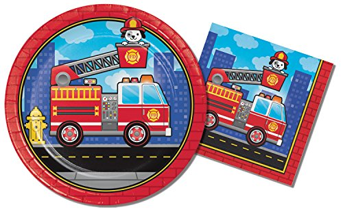 Fire Engine Themed Birthday Party Supplies Bundle - 2 Items; 9 Inch Paper Plates & 6.5 Inch Paper Napkins for 16 Guests -