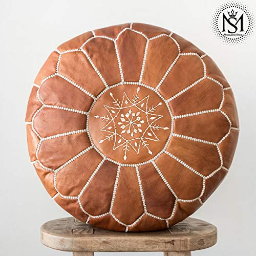 - Marrakesh Style Amazing & Beautiful, Original Tan Brown poufs Moroccan Leather Pouf, Natural Leather poufs, Home Gifts, Wedding Gifts,