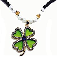 QTMY Lucky Clover Beaded Statement Long Chain Necklace Bohemian Jewelry with Pendant for Women (Green)