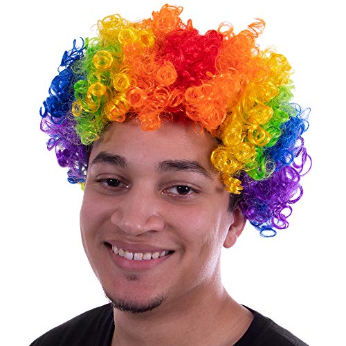 Clown Afro Wig Halloween Costume Accessory - Carnival Circus, Scary Killer Clown Rainbow