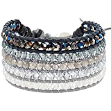 Chan Luu Crystal and Labradorite Beaded Cuff-Style Bracelet