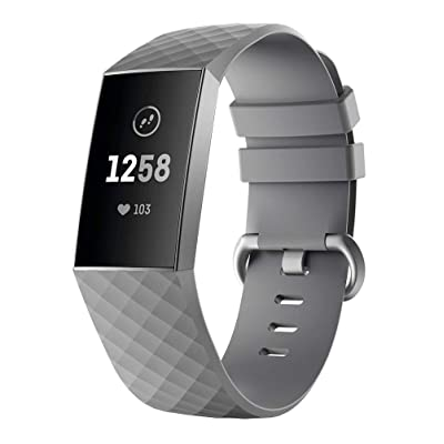 for Fitbit Charge 3 Bands, Fineser Soft Sports Wristband Adjustable Silicone Strap Compatible Fitbit Charge 3 (Gray): Toys & Games