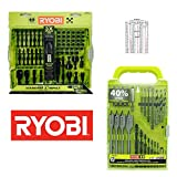 Ryobi 18v Hammer Drill Bit Set Bundle includes 68 Piece Impact Driving Bits, Nut Drivers Plus Socket Adapter Set And 31 Piece Drill Bit Set Also Comes With Tap Drill Size Laminated Card