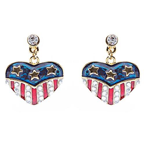 ACCESSORIESFOREVER Patriotic American Flag Crystal Rhinestone Heart Charm Dangle Earrings (Flag Charm Earrings)