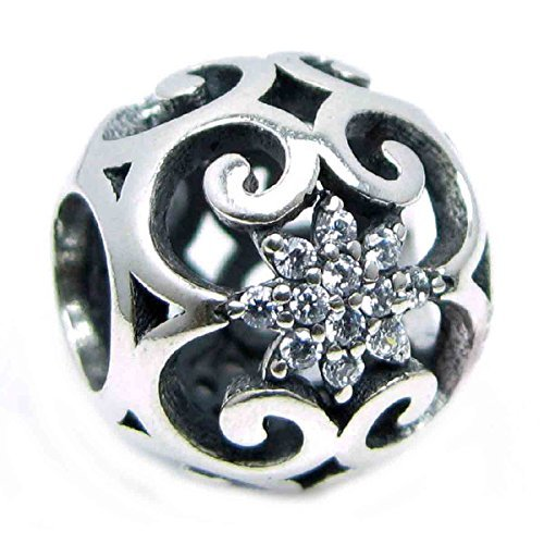 Sterling Silver Ethnic Filigree Flower Cubic Zirconia European Style Bead Charm by Queenberry