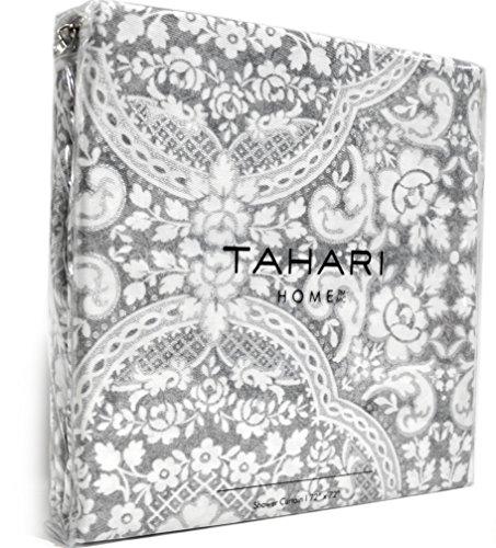 Tahari Luxury Cotton Blend Shower Curtain Damask Gray Silver Medallion