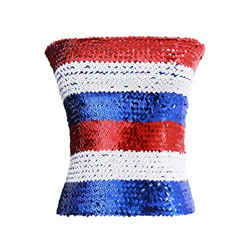Hoohu Womens Fashion Shiny Sequin Stretchy Strapless Seamless No-Padding Wrapped Chest Bandeau Tube Top Bra(Red White Blue)