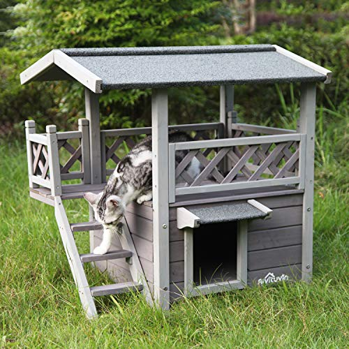 Aivituvin Dog/Cat House Outdoor and Indoor,Feral Pet Houses with Stairs for Cats Insulated, Weatherproof Roof