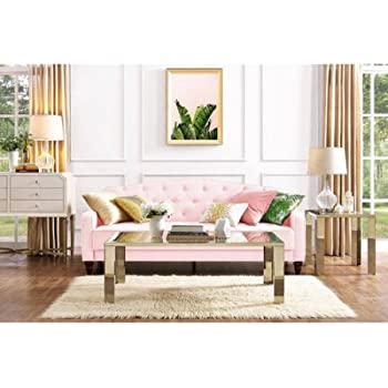 Attractive Novogratz Vintage Tufted Sofa Sleeper II (Pink Velour)