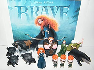 Disney Brave Movie Deluxe Mini Figure Toy Set of 12 with Princess Merida, King Fergus, the Witch, Queen Elinor, the Triplets, the 4 Enchanted Bears and More!