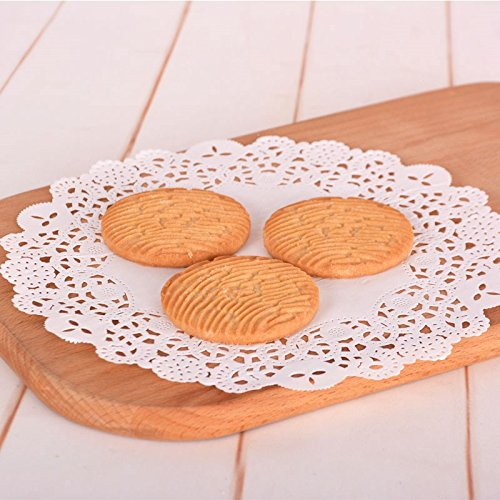 Lace Doilies Paper White Round Disposable Doily Paper Cake Packaging Paper Pad for Gift Party Wedding Table Supplies Decoration 6.5/8.5/10.5 Inch,100 Pcs (8.5inch)