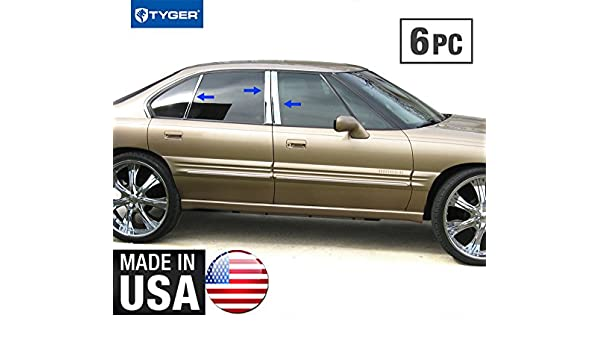 Made in USA Works with 2000-2006 Pontiac Bonneville 6 PC Stainless Steel Chrome Pillar Post Trim