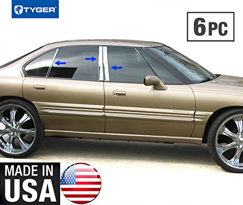 Made in USA! Works With 92-99 Pontiac Bonneville 6 PC Stainless Steel Chrome Pillar Post Trim
