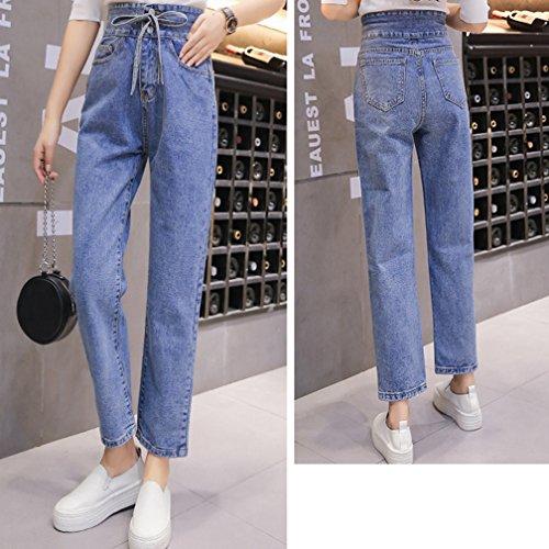 Bleu Clair Coupe Jean Droite Denim Pantalons ample Taille Haute dcontract Femme qwzvUACfU