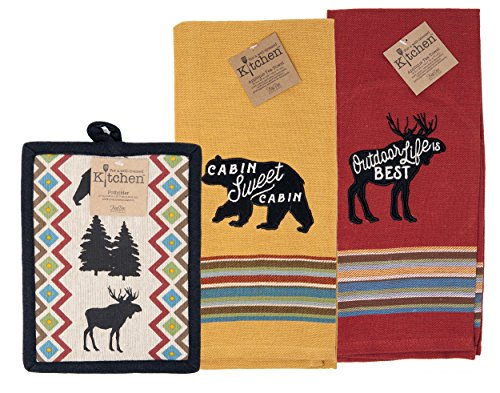- Kay Dee Mountain Cabin Moose Bear Tea Towels and Pot Holder Rust Mustard Embroidered Country Kitchen 3pc Set