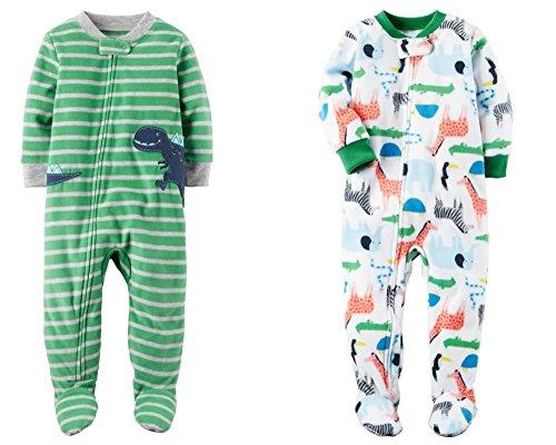 Carter's Baby Boys' 2-Pack Fleece Pajamas (2T, Dinosaurs/Dino) Dinosaur Footed Sleeper