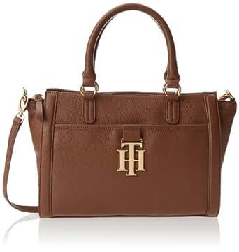 Tommy Hilfiger Monogrammed II Pebble Satchel Handbag,Mocha-282,One Size