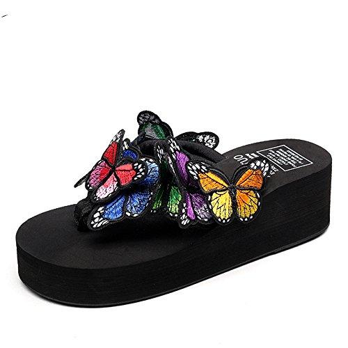 à Chaussures 4 Soleil Décontractées Femmes Lunettes Femmes Papillon Chaussures Couleur de pour Féminin Taille Pantoufles Plage pour Artisanales HAIZHEN optionnelle l'été de pX17qg