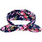 DZT1968® Baby Girl Floral Rabbit Ear Wide Turban Headband Head Wrap Knotted Hair Band (Dark Blue)