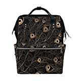 WOZO Gold Black Feather Multi-function Diaper Bags Backpack Travel Bag
