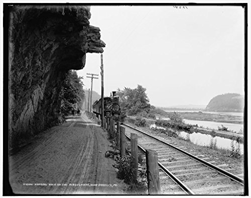 24 x 20 Art Canvas Print of c. 1890 Hanging rock on the Susquehanna near Danville Pa by Detroit Publishing Co (Susquehanna Pa)