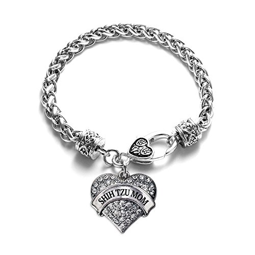 Shih Tzu Mom Pave Heart Charm Bracelet Silver Plated Lobster Clasp Clear Crystal Charm