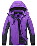 Wantdo Women's Waterproof Mountain Jacket Fleece Windproof Ski Jacket US XL  Purple X-Large
