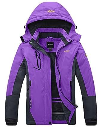 Wantdo Women's Waterproof Mountain Jacket Fleece Windproof Ski Jacket Purple US S  Purple Small