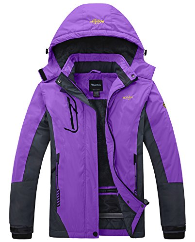 Wantdo Women's Waterproof Mountain Jacket Fleece Windproof Ski Jacket  Purple  Large Purple Large