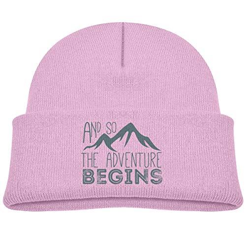 Kocvbng I and So The Adventure Begins Beanie Cap Skull Hat Baby Girls Pink ()