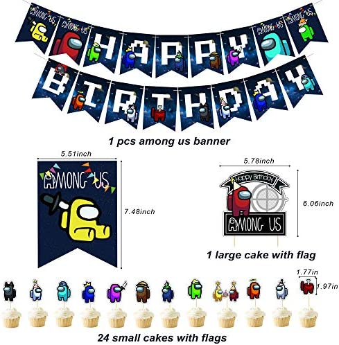 Cupcake Topper Balloons Cake Topper Party Supplies Includes Happy Birthday Banner Among us Game 103 PCS Birthday Party Supply Set for Kids,Party Favors Plastic Swirls Balloons for Party Decorations