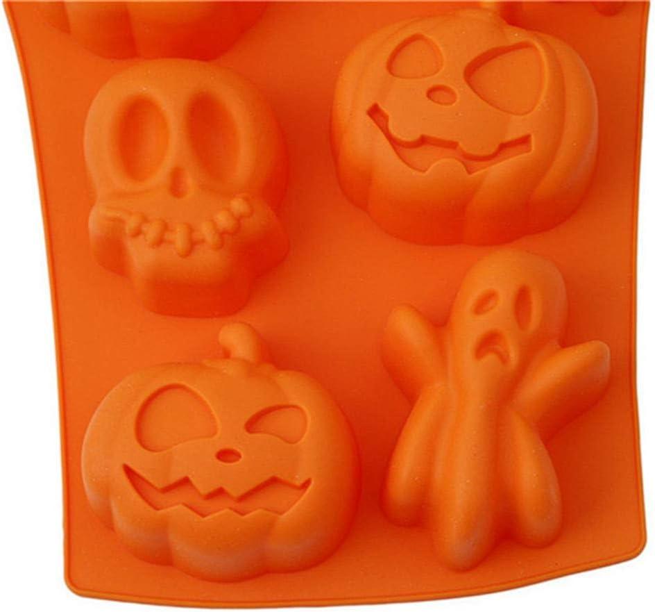 Convient /à la Confection de Muffins Cr/âne Maison Hant/ée Puddings Citrouille Chocolats et G/âteaux Chauve-souris Fant/ôme Chapeau de Sorcier FBGood Moule en Silicone au Chocolat Halloween 2PC