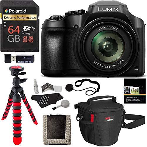 Panasonic FZ80 Lumix 4K Long Zoom Camera, 18.1 MP, F2.8-5.9, Power O.I.S with 3″ LCD + Polaroid 64GB + Camera Bag + Tripod and DC-FZ80K Accessory Bundle