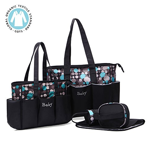 Diaper bag,Kuoser 5 pieces Polka Dot Diaper bags set Waterproof and Multi-Function Large Baby Diaper Bag baby bags for Mom and Dad with Changing pad,great for Baby Shower gift ,Grey