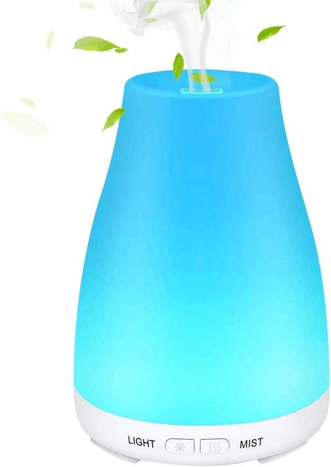 SaponinTree Humidificador Aromaterapia Ultrasónico, 100ml Portátil Difusor de Aceites Esenciales, 7 Color Luz Cambiado, Auto-Apagado, para Hogar, Oficina, Bebé, Dormitorio, Bebé etc