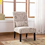 Roundhill Furniture AC161 Pisano English Letter Print Fabric Armless Contemporary Accent Chair with Matching Kidney Pillow