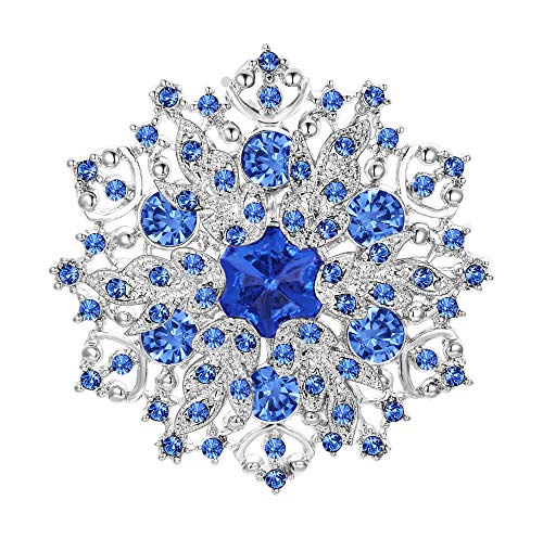 EVER FAITH Austrian Crystal Winter Snowflake Corsage Brooch Pin Aquamarine-Color Blue