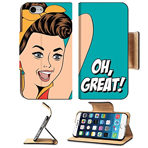 Luxlady Premium Apple iPhone 6 iPhone 6S Flip Pu Leather Wallet Case iPhone6 IMAGE ID: 34569172 cute retro woman in comics style with message vector (Ideas For Hairstyles)