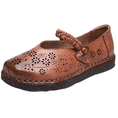 Strap caramel B Women's Mordenmiss Flats Mary Jane Ankle Loafer New Aannwxqzp