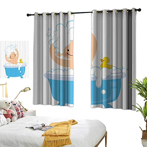 """Light Luxury high-end Curtains Nursery Decor Collection Baby Boy with Smiley Face Having Bubble Bath in Bathtub with Rubber Duck Kids Decor Art Noise Reducing 72"""" Wx63 L"""