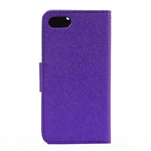 Protege tu iPhone, Para el iPhone 7 Cruz Textura horizontal Flip caja de cuero con titular y ranuras para tarjetas y cartera, pequeña cantidad recomendada antes de lanzamiento de iPhone 7 Para el telé Púrpula