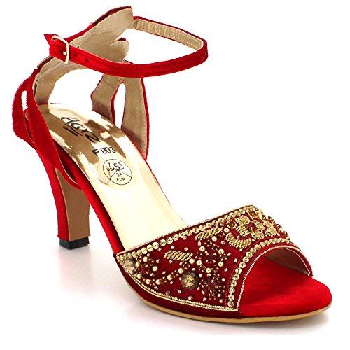 Talon Femmes Taille De Soir Cheville Diamante de de Fête Sangle Mariage mariée Sandales Dames Rouge Mi Open Bal Chaussures Toe 1vx1qAUZrw