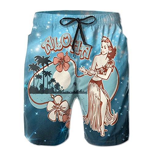 - Aloha Hula Girl Men's Quick Dry Swimming Trunks Casual Beach Surfing Board Shorts XXL