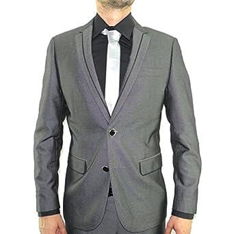 27f01a2823fc Costume homme gris cintré 2 boutons  Amazon.fr  Vêtements et accessoires