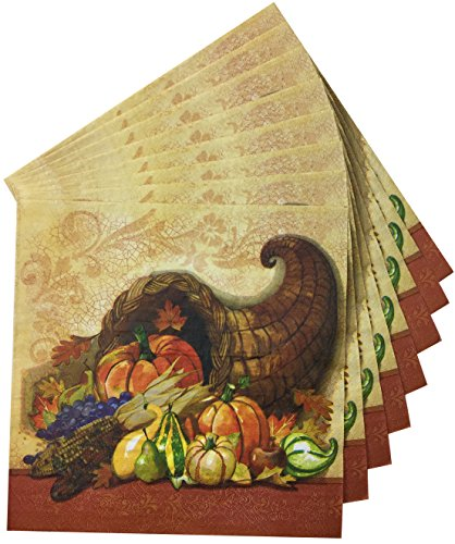 Thanksgiving Dinner Premium Napkins for Your Holiday Party - Decorative Cornucopia - Large Buffet Size 2 Ply 16x16 (40ct)