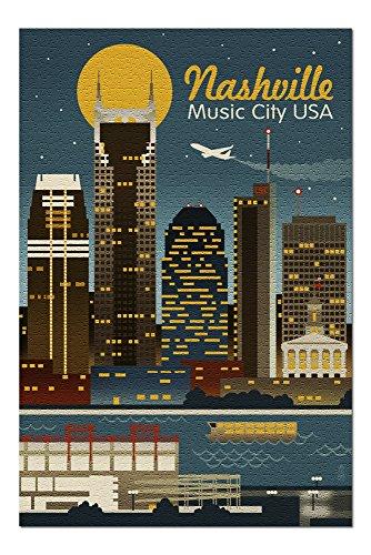 Framed Nashville Tn (Nashville, Tennesseee - Retro Skyline (20x30 Premium 1000 Piece Jigsaw Puzzle, Made in USA!))