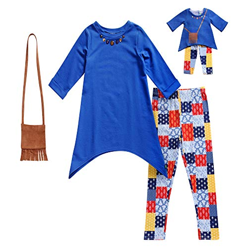Dollie & Me Girls' Big Tunic with Purse, Legging and Matching Doll Outfit, Blue/Multi 10 ()