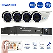 OWSOO 4 Channel H.264 HDMI Full AHD 1080N/720P DVR CCTV Network Surveillance Kit with 4x 720P 1500TVL Outdoor/Indoor Infrared Bullet Camera, Support IR-CUT Night Vision Weatherproof Plug and Play