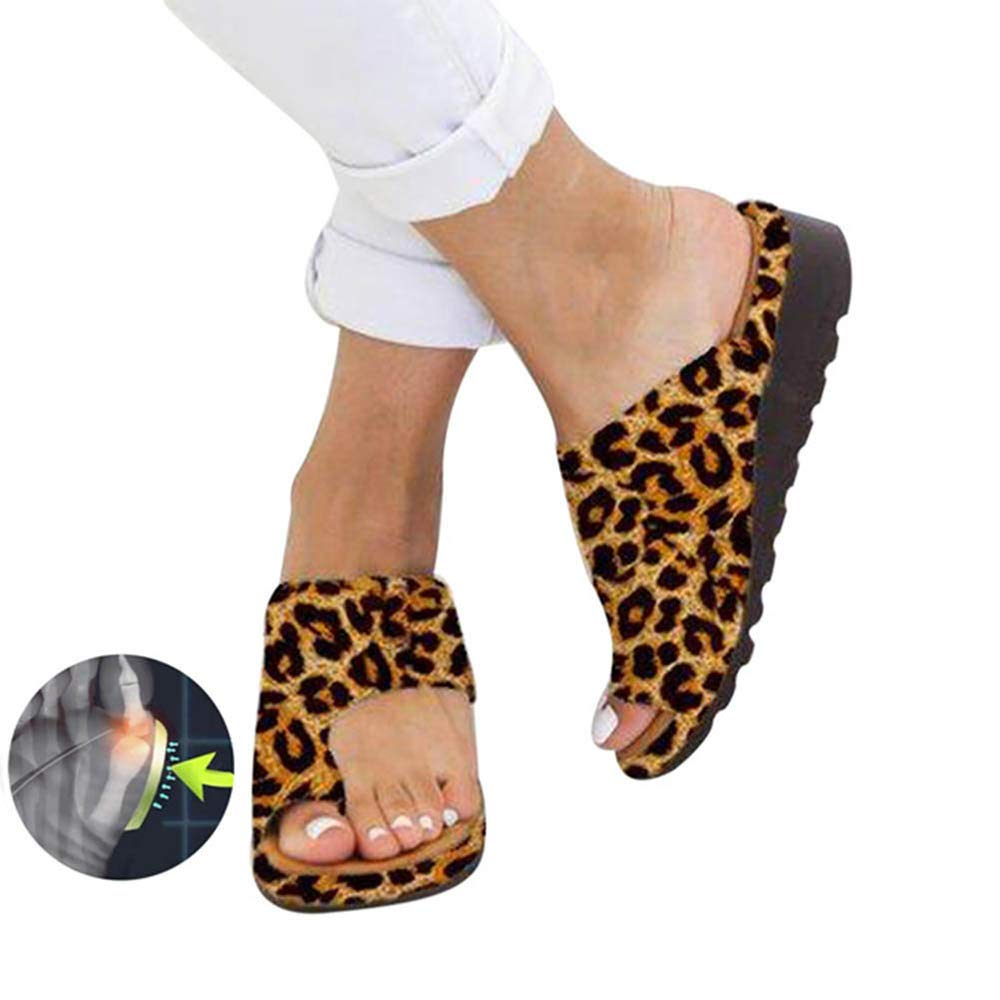 ZGDGG Big Toe Foot Correction Sandal with Orthopedic Bunion Corrector Leopard PU Comfy Platform Flat Sole for Women,37 by ZGDGG